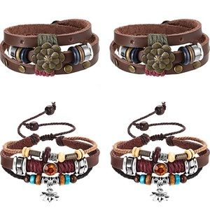Jewelry - 4 Pieces Lotus Flower Layered Leather Bracelet